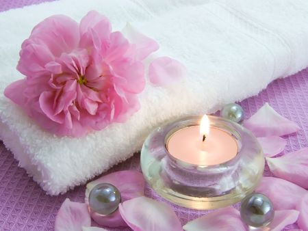 Body relax composition with aroma candles and petals of rose  Stock Photo
