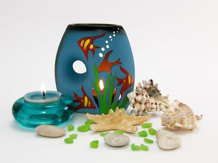 Marine bath salt, aroma lamp and aroma candle for aromatherapy and relax