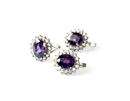 Silver ring and ear-rings with amethyst