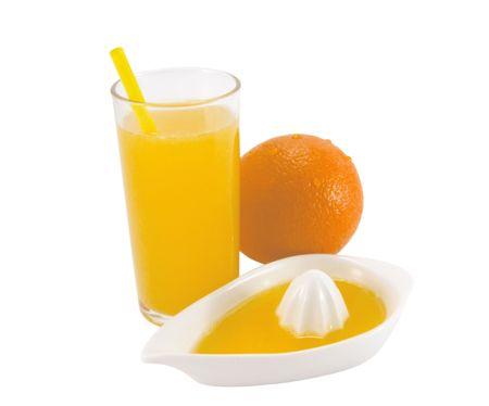 Fresh natural orange juice on a white background