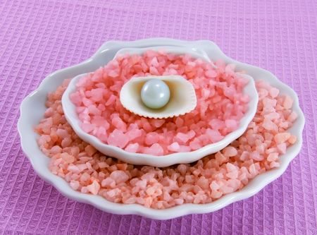 Marine salt with the aroma of rose oil for relax Stock Photo
