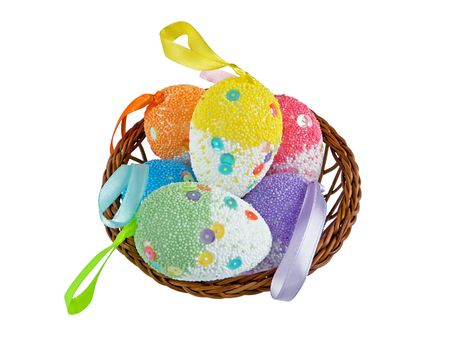 Easter egg decoration on a white background close-up