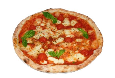 Pizza with mozzarella, cherry and basil on a white background close-up