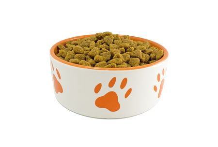 Dog bowl with pet food on a white close-up Stock Photo