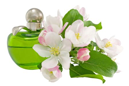 Perfume and flowers on a white background close-up