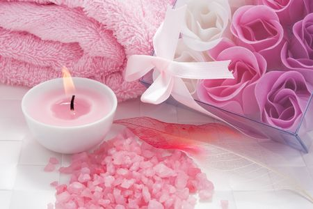 Aroma candle, bath salt and rose petals soap set for aromatherapy photo