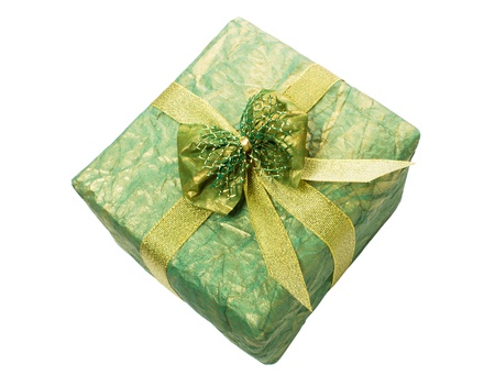 Gift box with gold ribbon isolated on a white background close-up Stock Photo