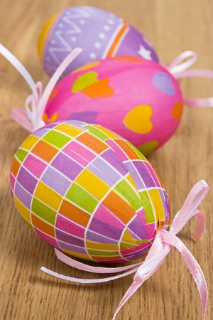 Colorful Easter eggs decoration on wooden background   Stock Photo - 8946499