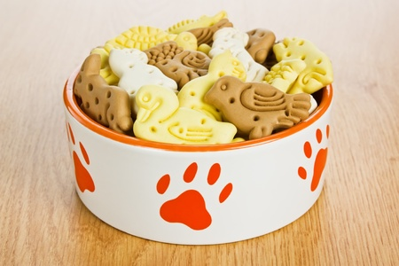 Dog bowl full of treats biscuits in shape of animal