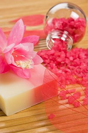Handmade natural soap and aromatic bath salt - wellness bath accessories