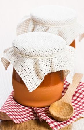 greek pot: Due piatto in ceramica con fatti in casa yogurt greco e cucchiaio di legno