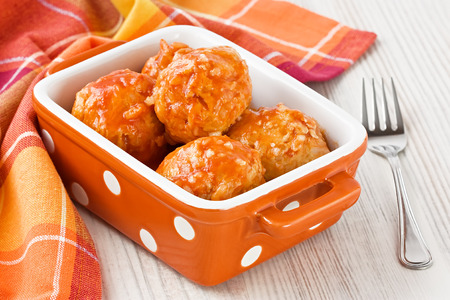 Homemade turkey meatballs with rice and tomato sauce