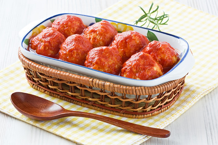 Delicious homemade turkey or chicken meatballs with tomato sauce