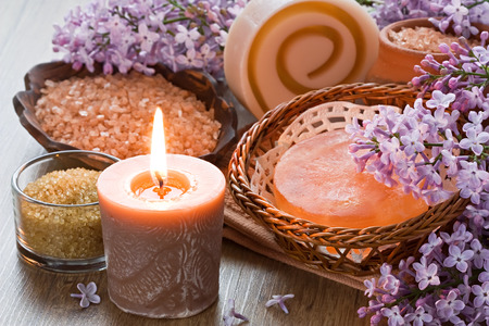Aroma candle, sea salt, brown sugar, natural soap and lilac flower