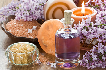 wooden aromatherapy: Aromatherapy essential oil, brown sugar, sea salt, natural soap and lilac flower