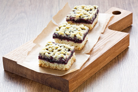 Homemade black currant crumble pie bars delicious sweet dessert Stock Photo - 51356391