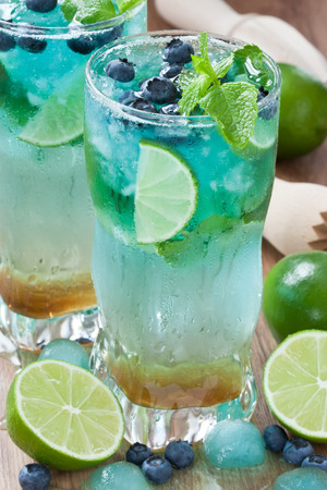 Detox refreshing summer drink juice with lime, mint, blueberry and ice