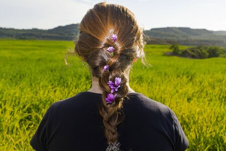 Rear view of the back and head of a young red-haired woman with a braid with flowers. Sitting on the grass, Looking at the horizon, looking at he future. Imagens