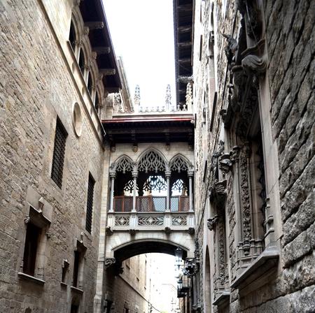 generalitat: Bridge at Carrer del Bisbe in Barri Gotic Barcelona