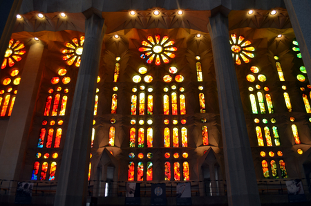 allegory painting: Sagrada Familia, beautiful and majestic interior view on a sunny day in Barcelona