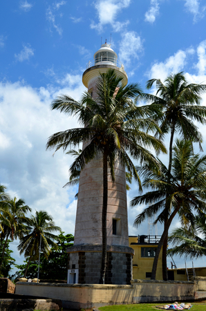 galle: Galle Fort Lighthous And Palm Trees Stock Photo