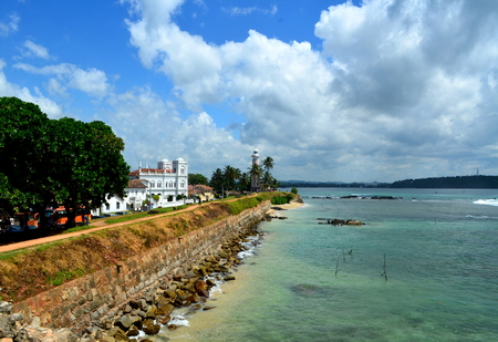 major ocean: Galle, Sri Lanka ramparts, sea, mosque and lighthouse