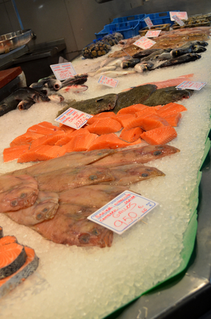 pink dolphin: Fresh Fish at the market displayed on ice