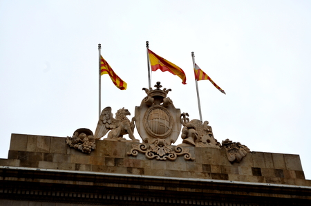 generalitat: Catalan barcelona Catalan and Spanish flags from government