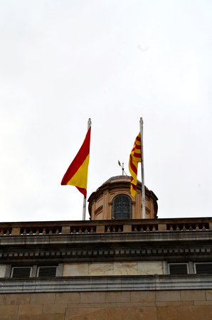 generalitat: Catalan and Spanish flags from City Hall Stock Photo
