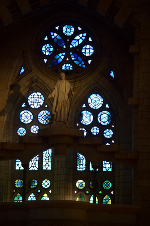 allegory painting: Sagrada Familia beautiful and majestic interior