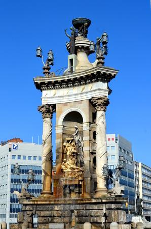 josep: Fountain at Plaza de Espana in Barcelona Stock Photo