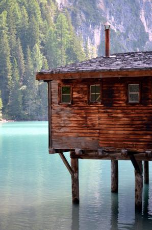 stilt house: Stilt house in braies lake in Italy