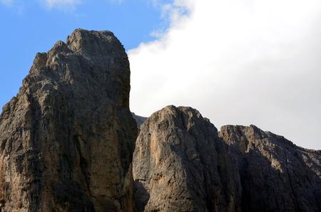 gardena: View of Gardena Pass in the Dolomites UNESCO Stock Photo
