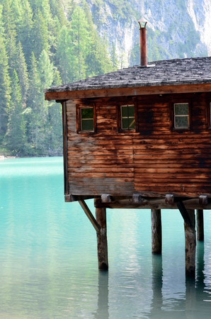 stilt house: Details of typical stilt house braies Lake Editorial