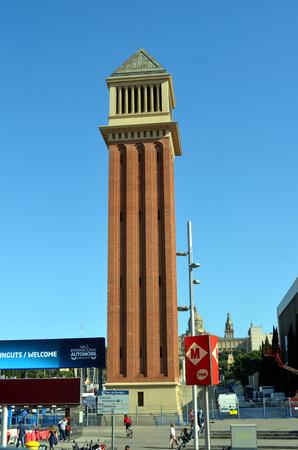 espanya: Plaza de Espanya in Barcelona Editorial