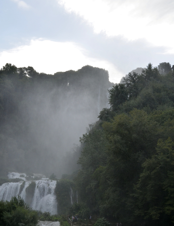 terni day: Marmores waterfalls Terni Italy Velino river at first jump of three. Marmores waterfall is the highest waterfall in Europe