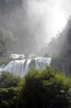 terni: Marmores waterfalls Terni Italy Velino river at first jump of three. Marmores waterfall is the highest waterfall in Europe