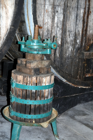 winepress: image of old wine press in a vinery Stock Photo