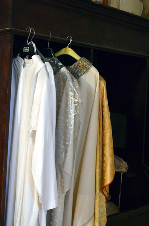 Priest clothes in the wardrobe of the medieval church