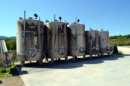 fermenting: Stainless steel tanks for a fermentation of wine Modern manufacture of winemaking