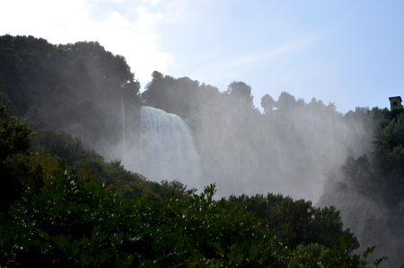 terni day: the power of the waterfall in the middle of nature Stock Photo