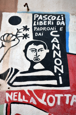 murals: ORGOSOLO ITALY 4 October 2015 Murals in Orgosolo Italy