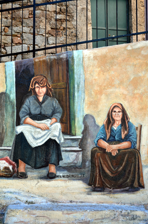 decorative wall: ORGOSOLO ITALY 4 October 2015: Murals ancient wisdom in Orgosolo Italy