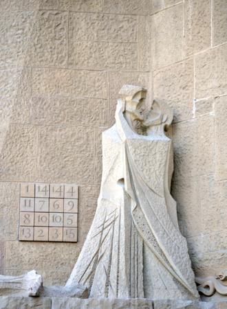 architectural details: The Kiss - Architectural details of the Sagrada Familia, Barcelona