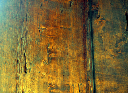 aging process: Overhead view of old wooden table in a winery