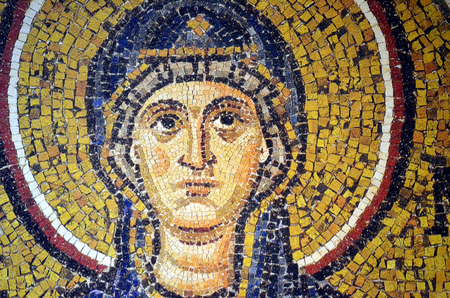ravenna: Ravenna, Italy - 18 AUGUST, 2015 to 1500 years old Byzantine mosaics from the UNESCO listed basilica of Saint Vitalis in Ravenna, Italy