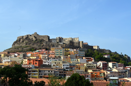 pictoresque: View of Castelsardo fortress and village from the beach Sardinia Italy Stock Photo