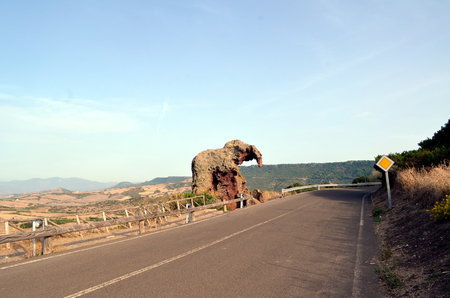 arts culture and entertainment: Elephant Rock, one of the symbols of Sardinia. Stock Photo