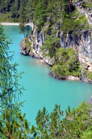 dolomite: Braies Lake situated in the dolomite Italy