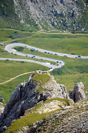 Winding road in the Dolomites Mountains